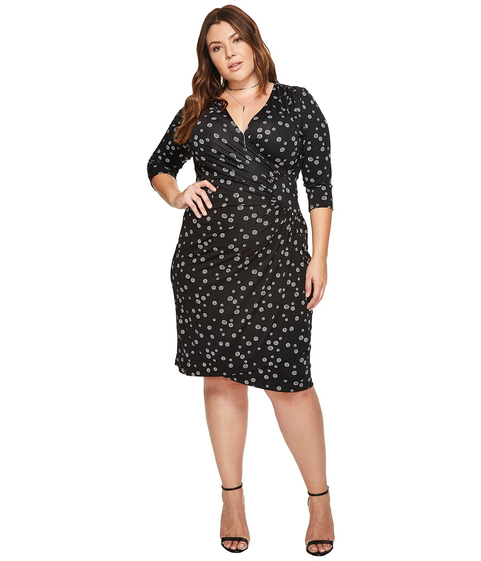 Kiyonna Ciara Cinch Dress (Abstract Dot Print) Women's Dress