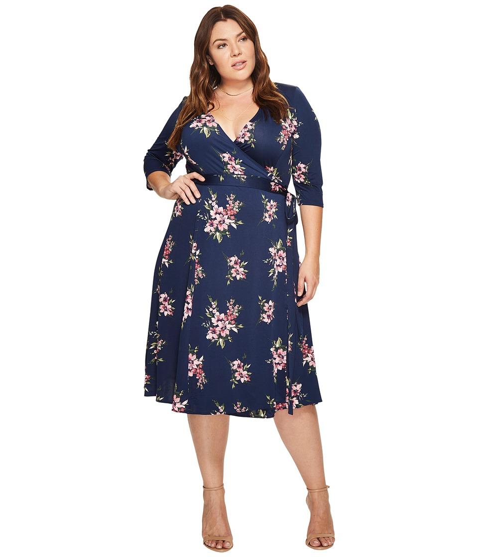 Kiyonna Essential Wrap Dress (Pink Lily Print) Women