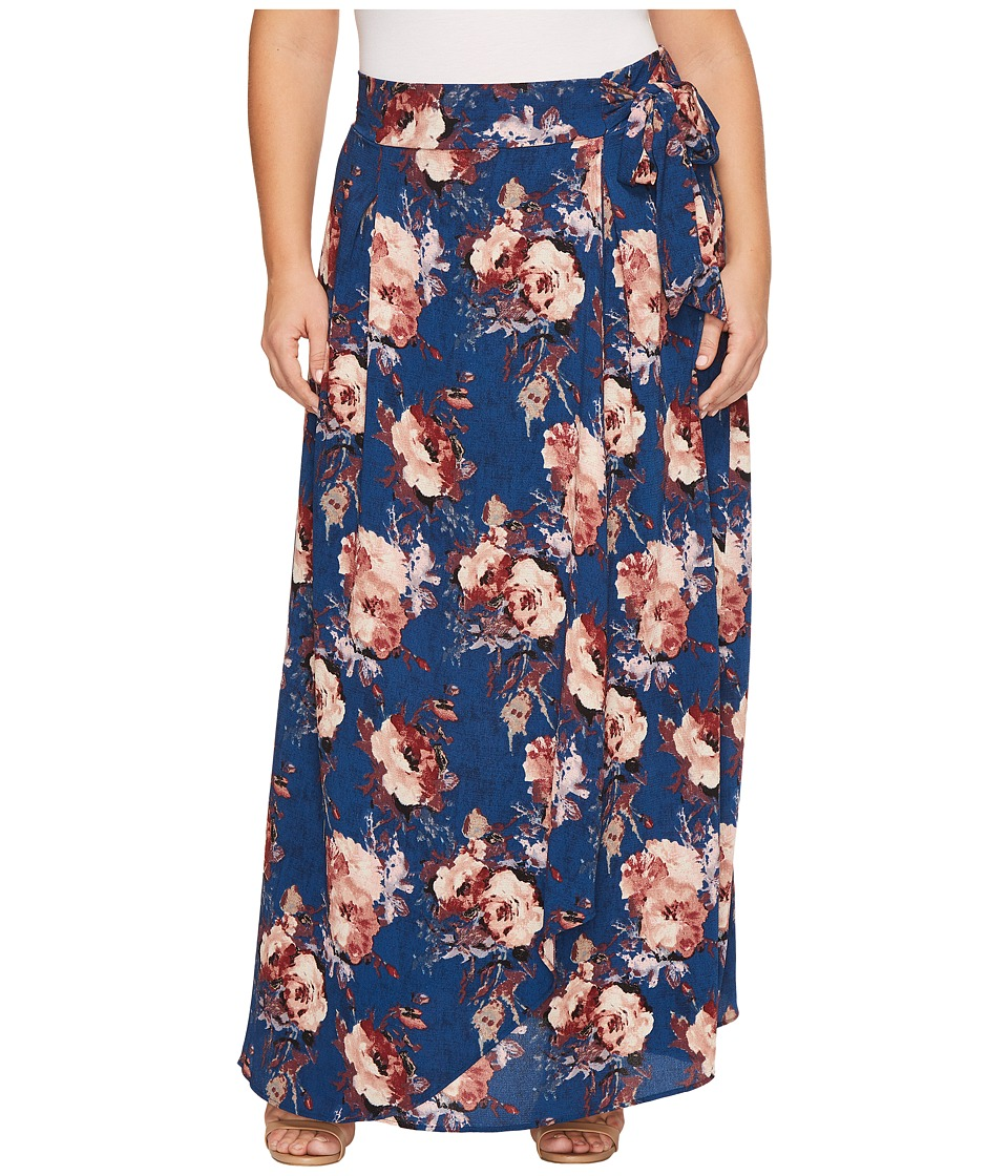 Kiyonna Celine Chiffon Maxi Skirt (Twilight Rose Print) Women's Skirt