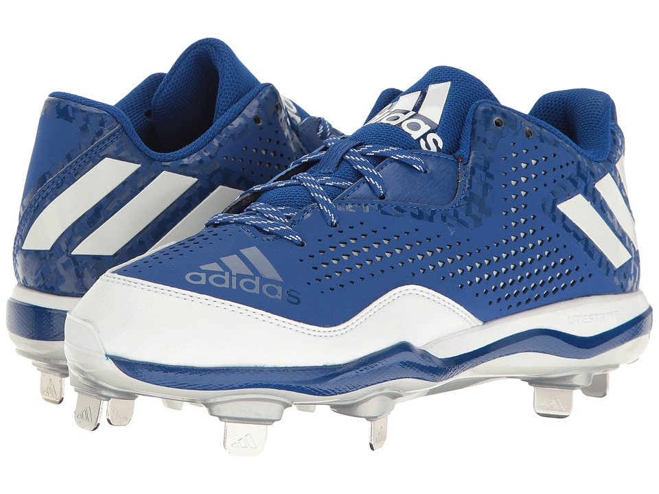 adidas - PowerAlley 4 (Collegiate Royal/White/Silver Metallic) Men's Shoes