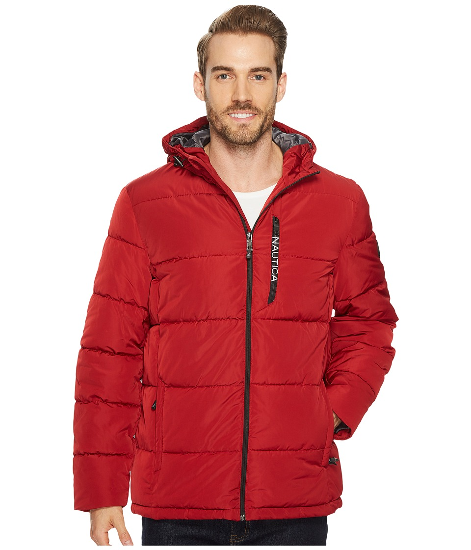 Nautica - Quilted Hooded Puffer (Red) Men's Coat
