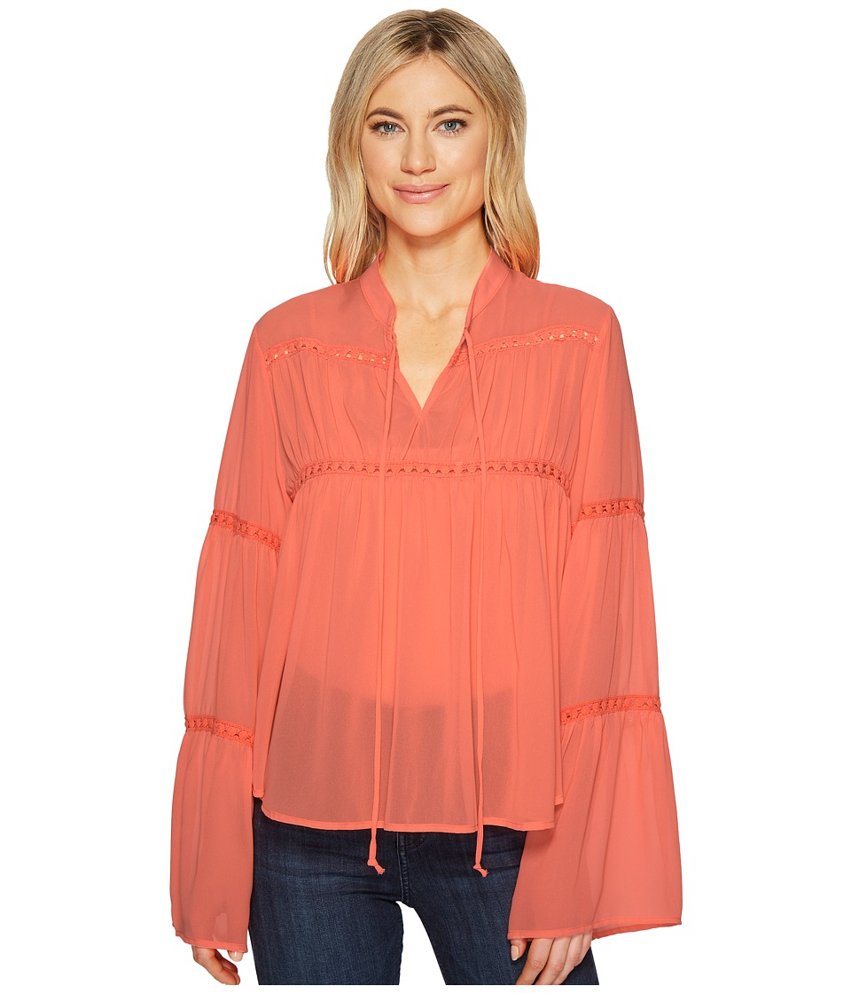 ROMEO & JULIET COUTURE - Sheer Long Sleeve Blouse with Crochet Detail (Neon Sunset) Women's Blouse