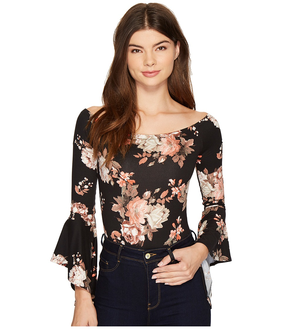 ROMEO & JULIET COUTURE - Off Shoulder Bell Sleeve Bodysuit (Black Floral) Women's Jumpsuit & Rompers One Piece