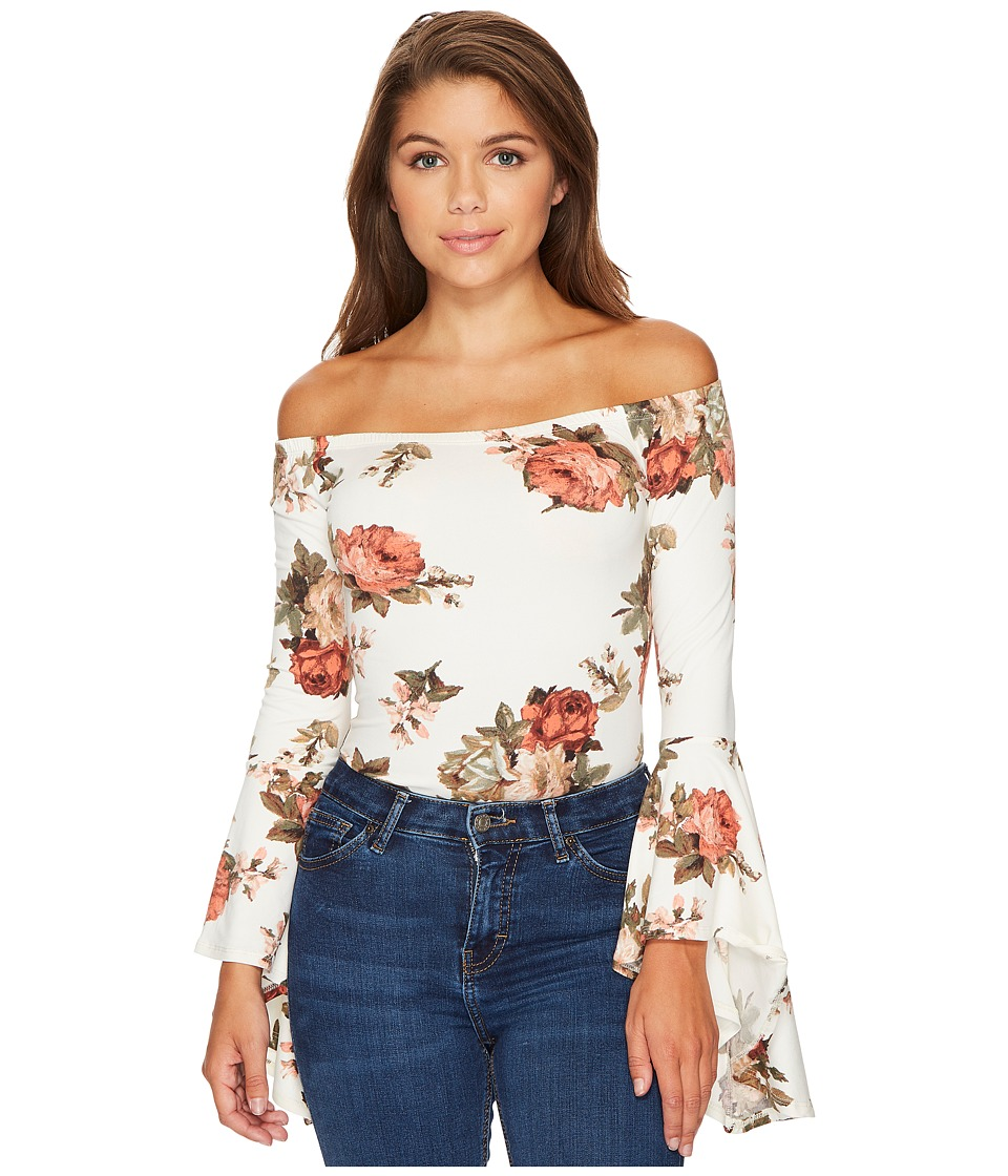 ROMEO & JULIET COUTURE - Off Shoulder Bell Sleeve Bodysuit (White Floral) Women's Jumpsuit & Rompers One Piece