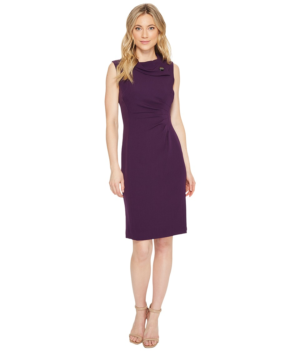 Tahari by ASL - Envelope Neck Sheath Dress (Aubergine) Women's Dress