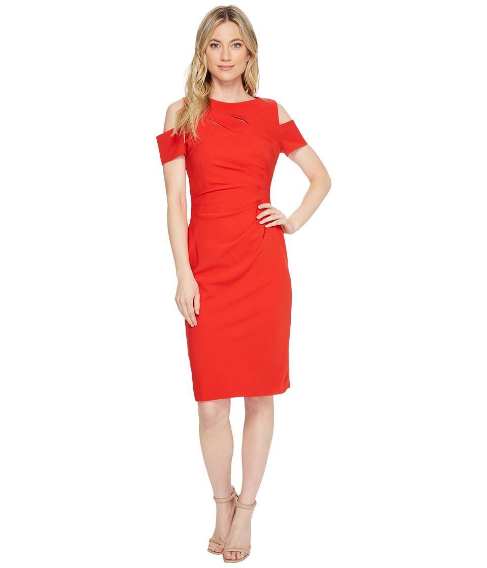 Tahari by ASL Cold Shoulder Sheath Dress (Crimson) Women