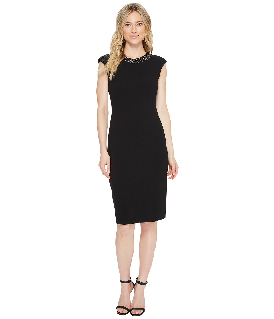 Tahari by ASL - Scuba Crepe Necklace Sheath Dress (Black) Women's Dress