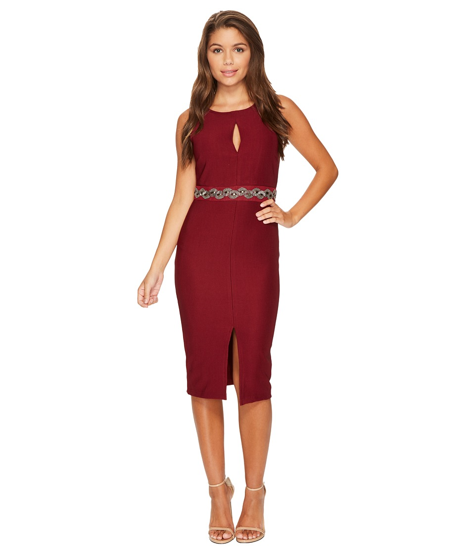 ROMEO & JULIET COUTURE - Front Keyhole and Beaded Belt Dress (Wine) Women's Dress