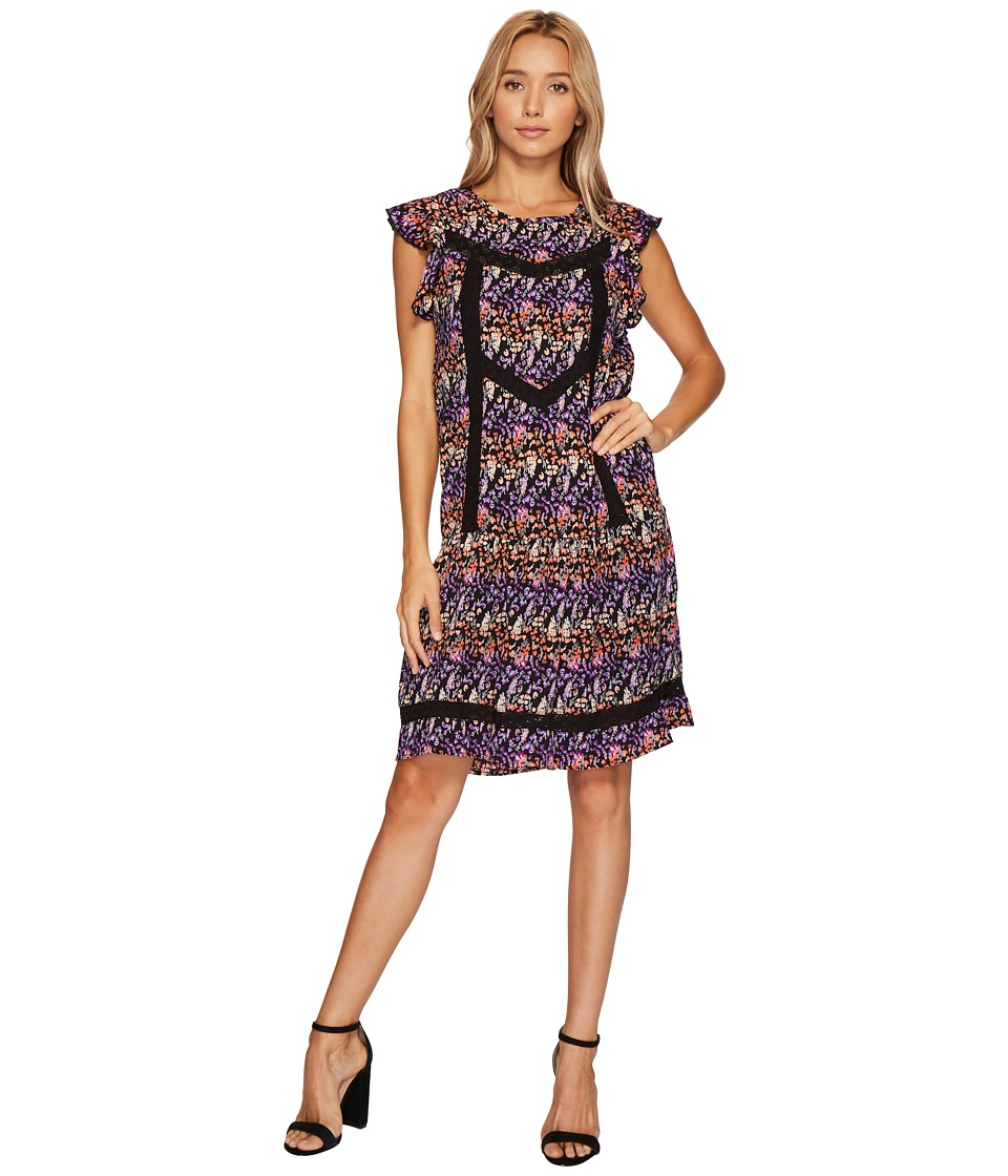 ROMEO & JULIET COUTURE - Butterfly Sleeve Lace Detail Dress (Black Combo) Women's Dress