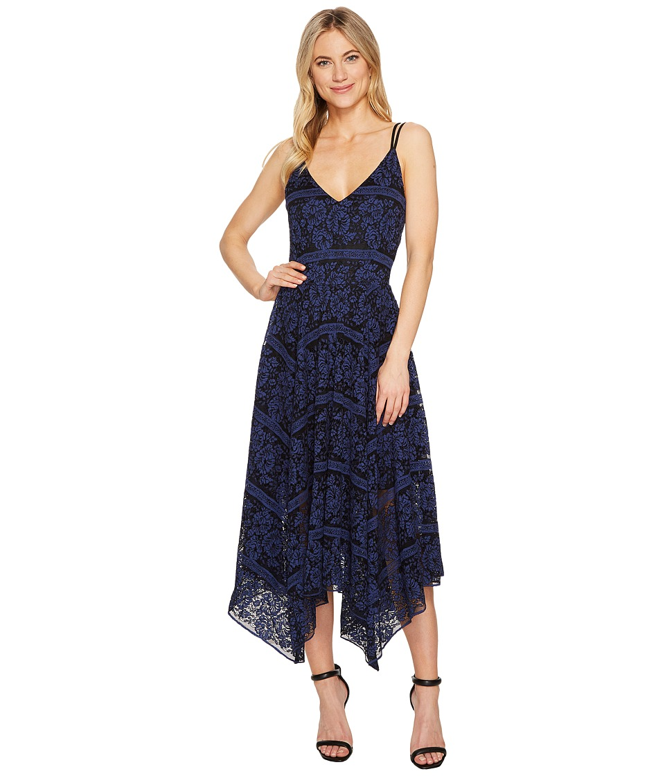 ROMEO & JULIET COUTURE - Lace V-Neck Midi Dress (Black/Navy) Women's Dress