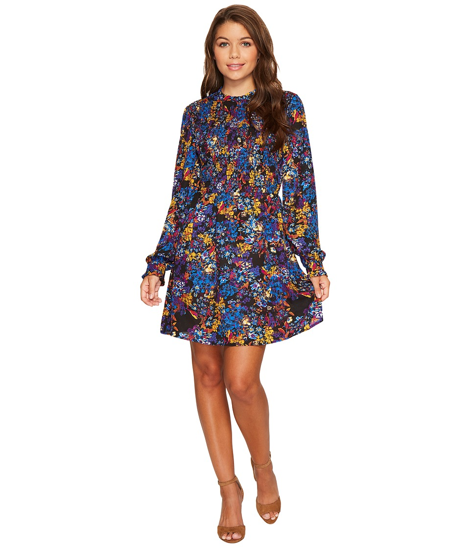 ROMEO & JULIET COUTURE - Flit and Flare Printed Dress with Keyhole Back (Ultramarine) Women's Dress