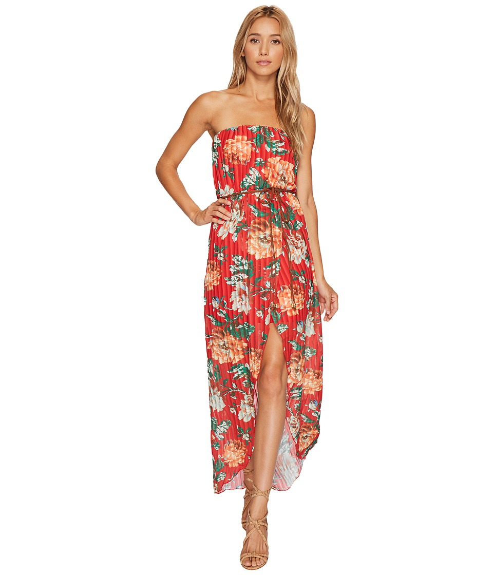 ROMEO & JULIET COUTURE Floral Chiffon Dress with Belt (Coral Multi) Women