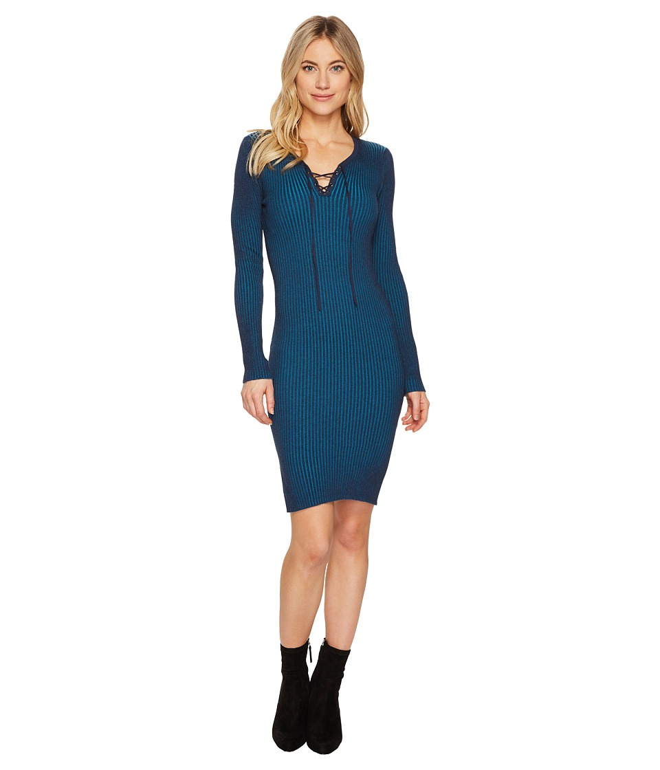ROMEO & JULIET COUTURE - Ribbed Knit Midi Dress (Navy/Teal) Women's Dress