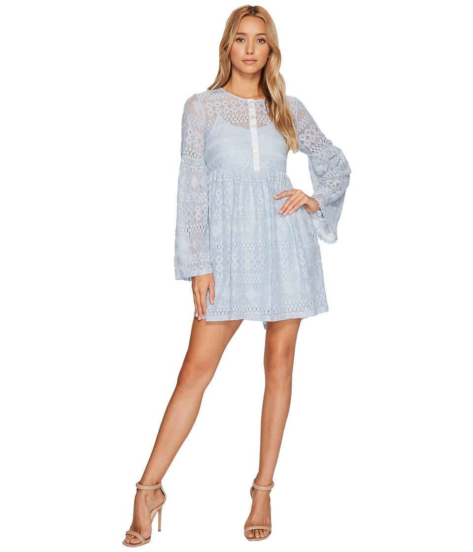 ROMEO & JULIET COUTURE Button Front Lace Dress (Blue) Women