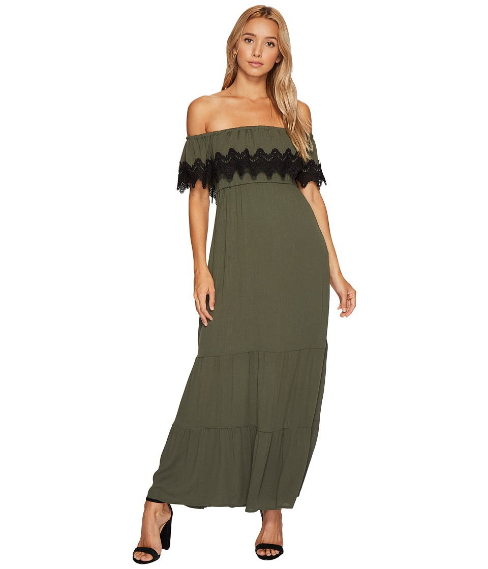 ROMEO & JULIET COUTURE - Off Shoulder Lace Trim Long Dress (Olive/Black) Women's Dress