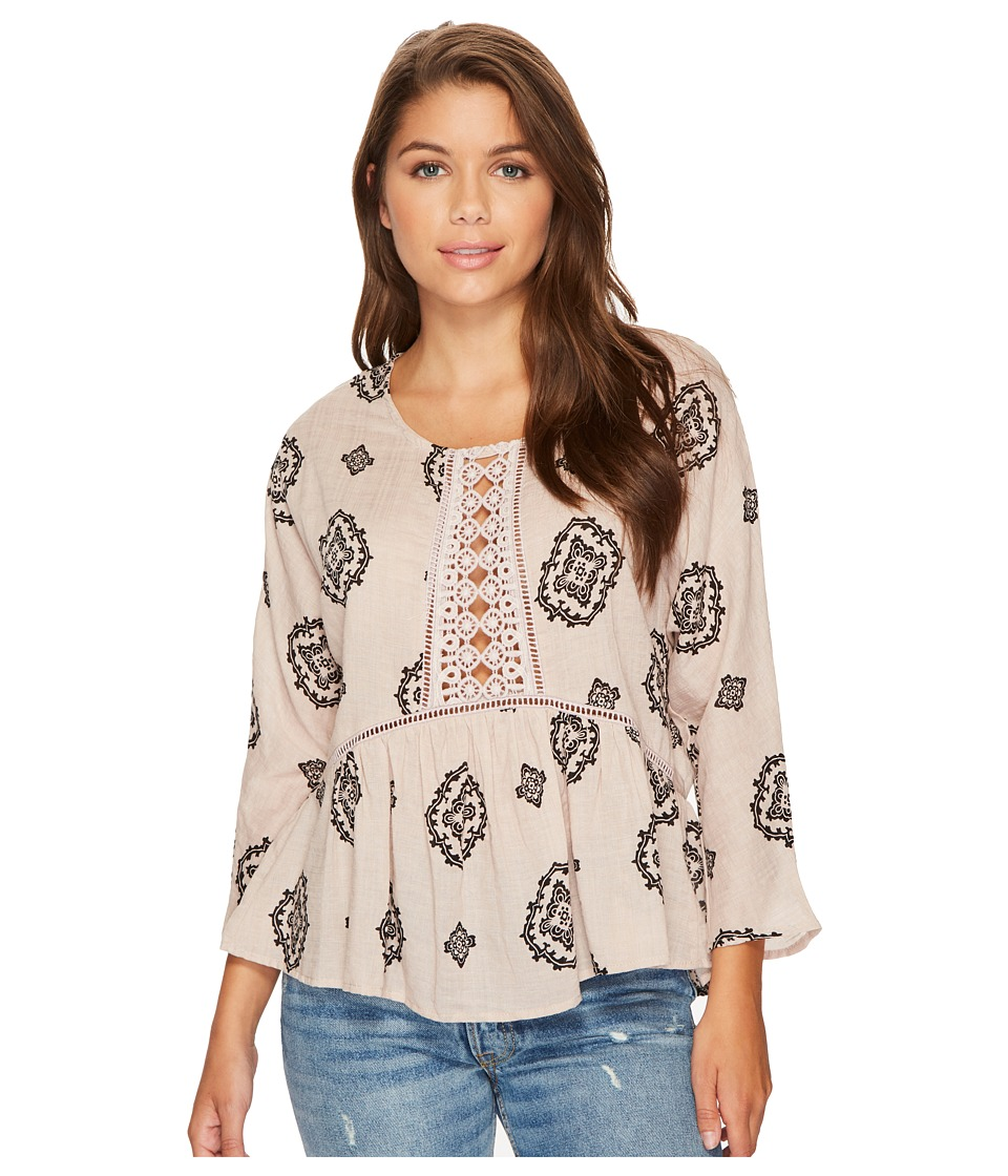 ROMEO & JULIET COUTURE - Front Lace Detail All Over Print Top (Sand Multi) Women's Clothing