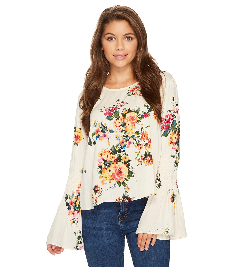 ROMEO & JULIET COUTURE - Floral Bell Sleeve Top (Cream Floral Multi) Women's Clothing