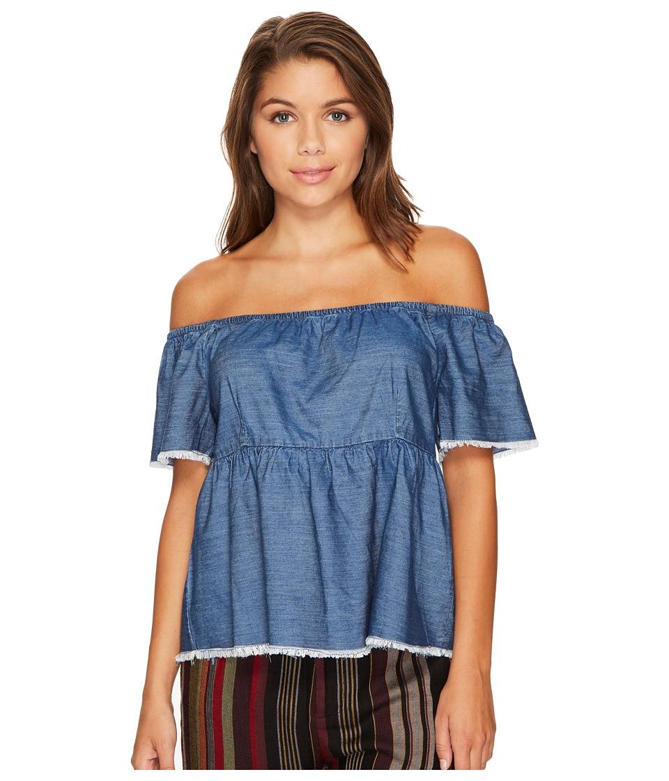 ROMEO & JULIET COUTURE - Off Shoulder 1/2 Sleeve Denim Top (Dark Denim) Women's Clothing