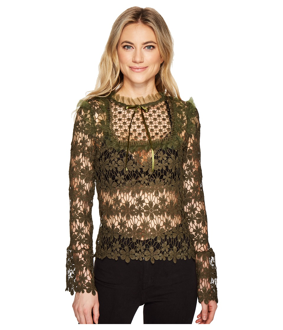 ROMEO & JULIET COUTURE - Lace Top (Olive) Women's Clothing