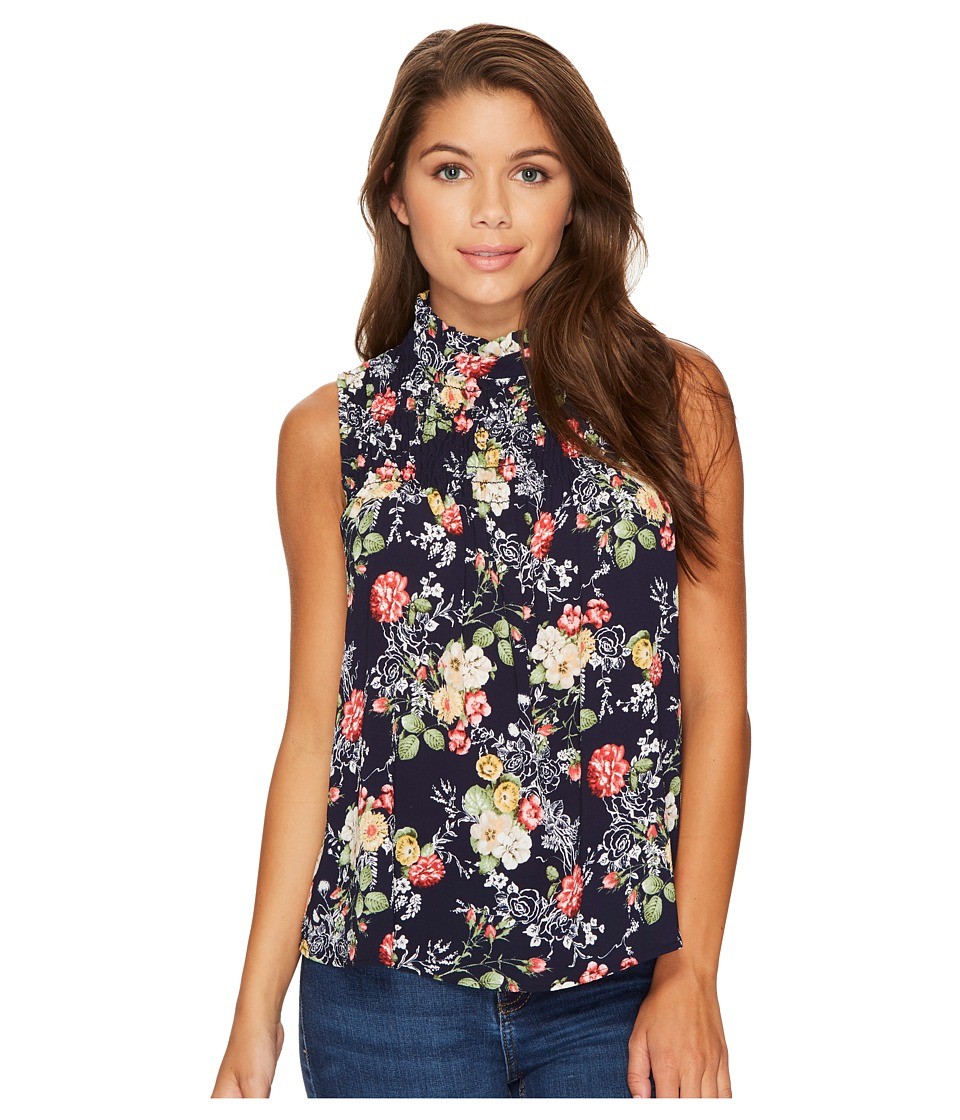 ROMEO & JULIET COUTURE - High Neck and Keyhole Front Top with All Over Floral Print (Multi) Women's Clothing