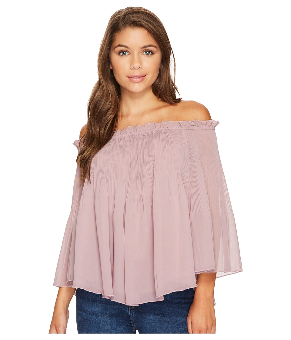 ROMEO & JULIET COUTURE - Off Shoulder Pleats Top (Mauve) Women's Clothing