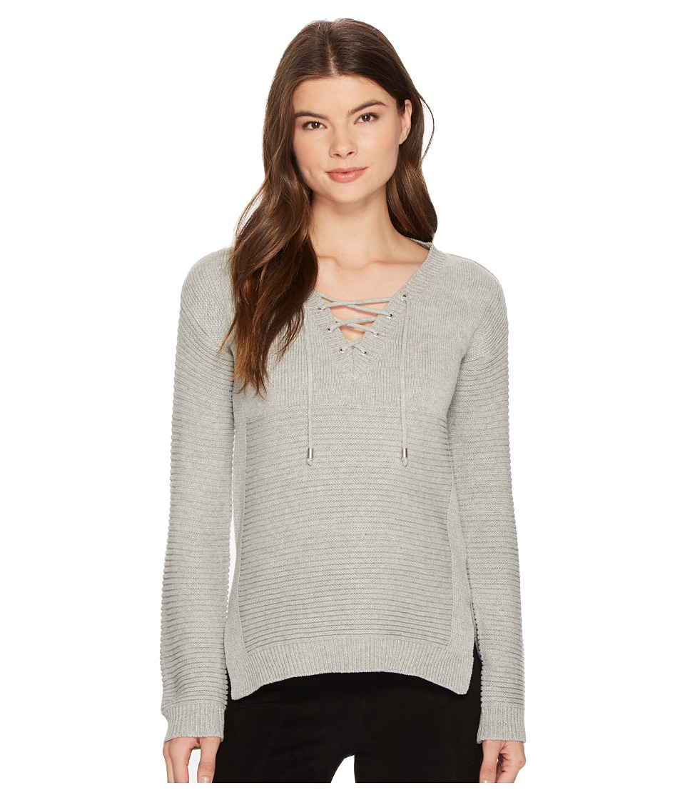 ROMEO & JULIET COUTURE - Rib Sweater with Front Tie (Light Heather Grey) Women's Sweater