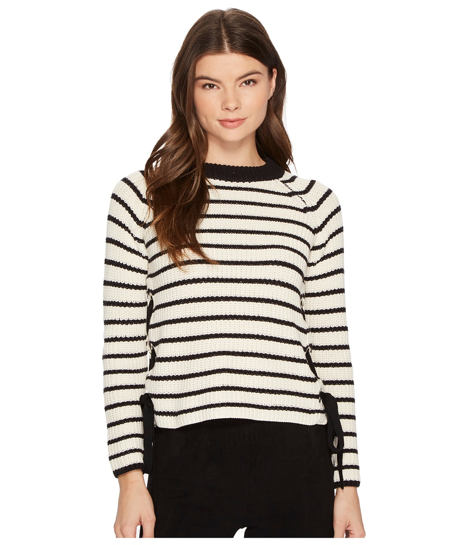 ROMEO & JULIET COUTURE - Striped Crew Neck Knit Sweater (Black/Cream) Women's Sweater