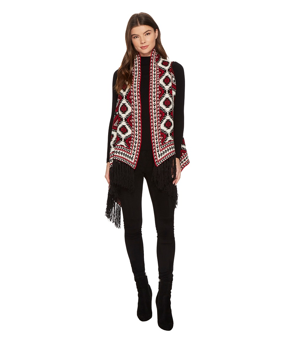 ROMEO & JULIET COUTURE - Aztec Sweater Cardigan with Fringe (Burgundy Combo) Women's Sweater