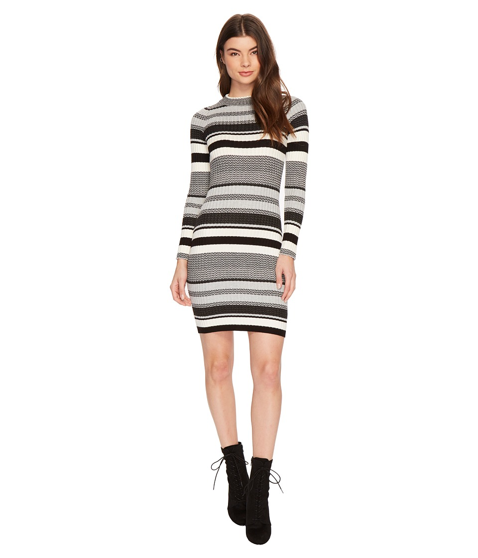 ROMEO & JULIET COUTURE - Long Sleeve Multi Striped Knit Sweater Dress (Black Multi) Women's Dress