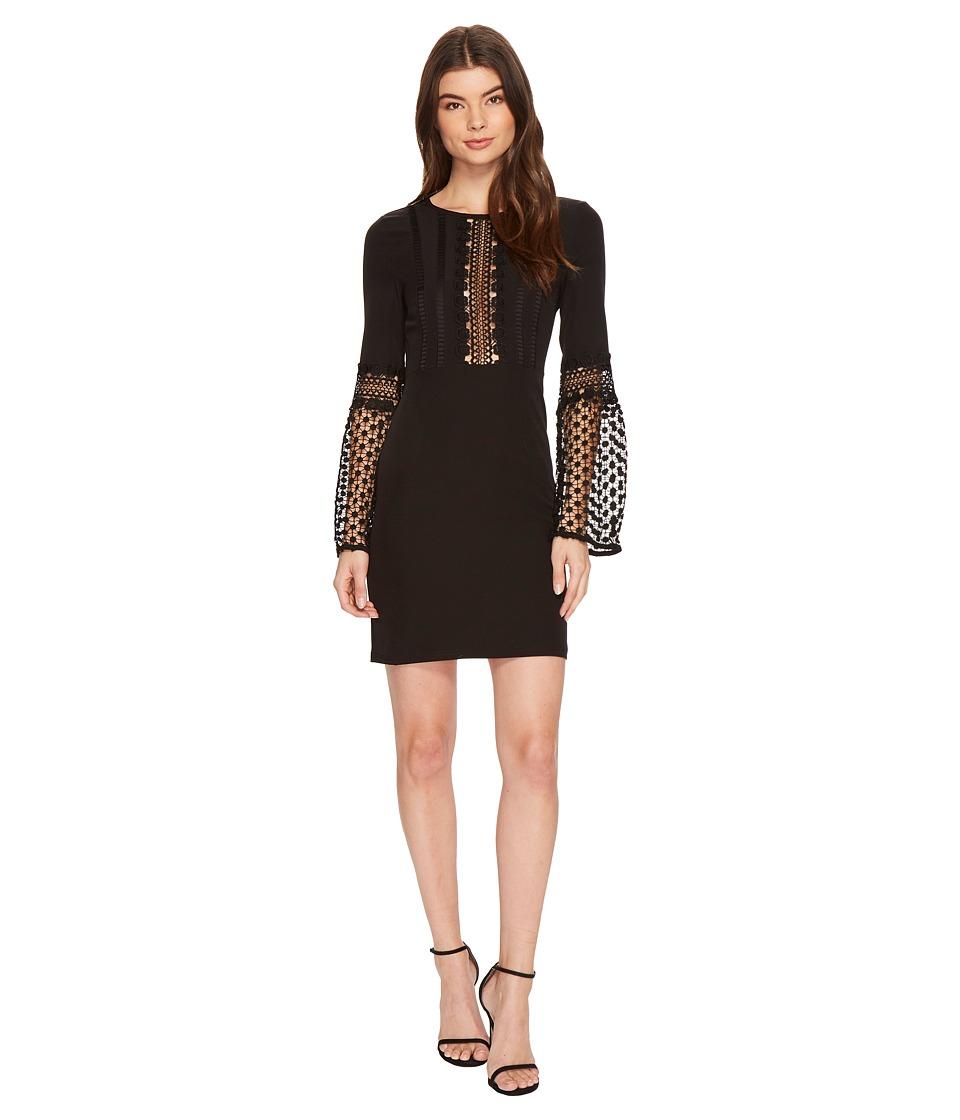 ROMEO & JULIET COUTURE - Long Sleeve Lace Detail Dress (Black) Women's Dress