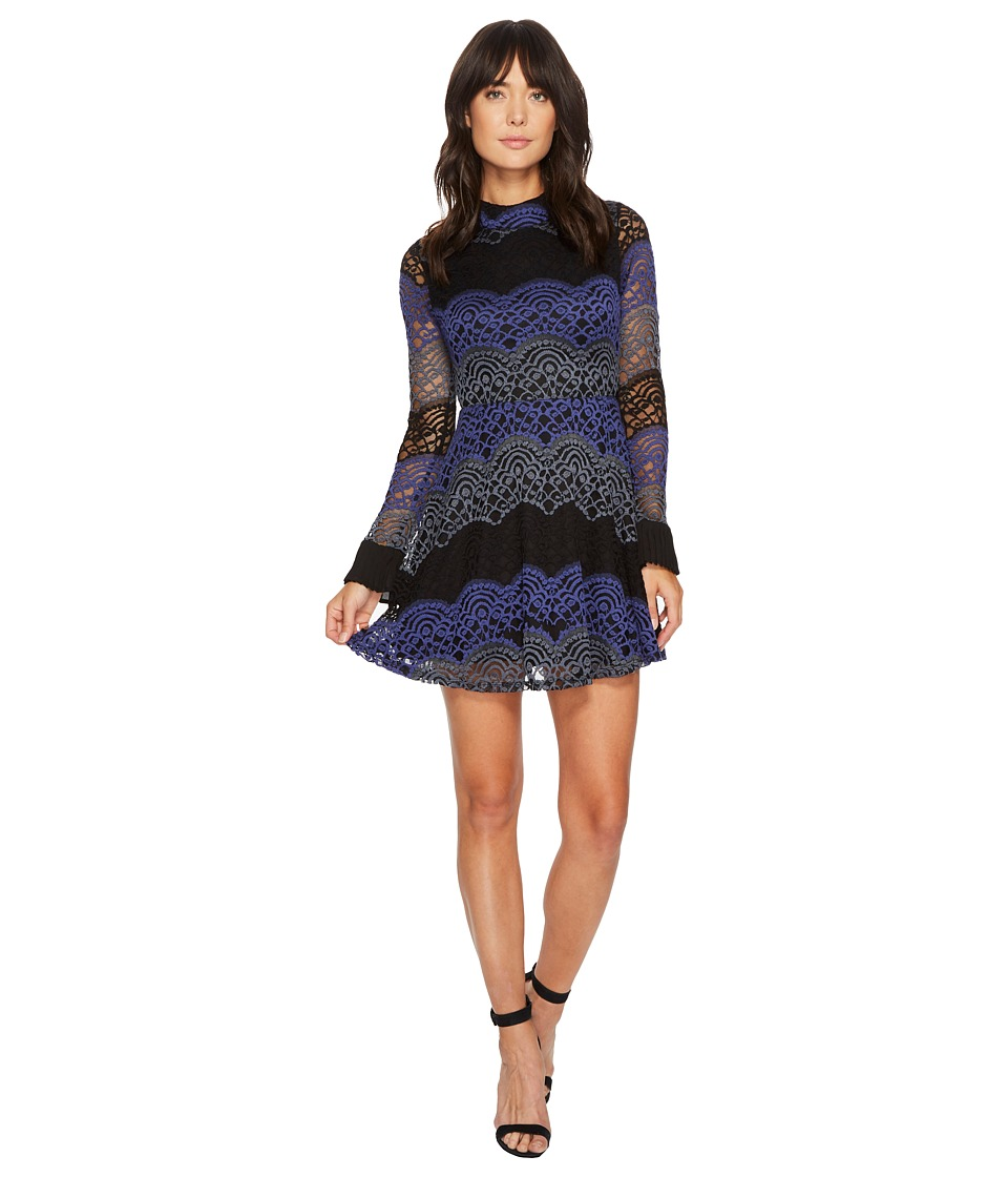 ROMEO & JULIET COUTURE - High Neck All Over Lace Dress (Black) Women's Dress