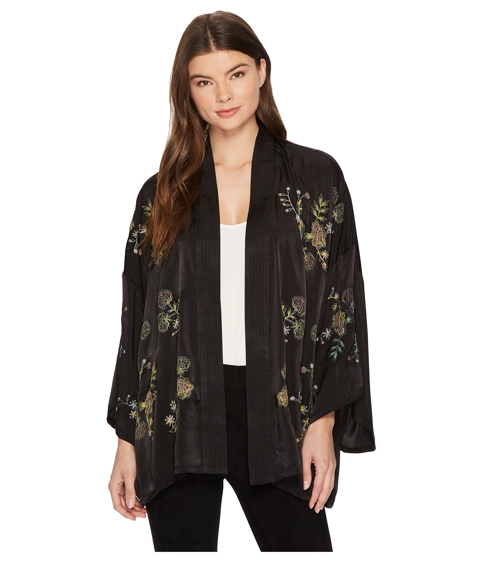 ROMEO & JULIET COUTURE - Embroidered Satin Kimono (Black) Women's Coat