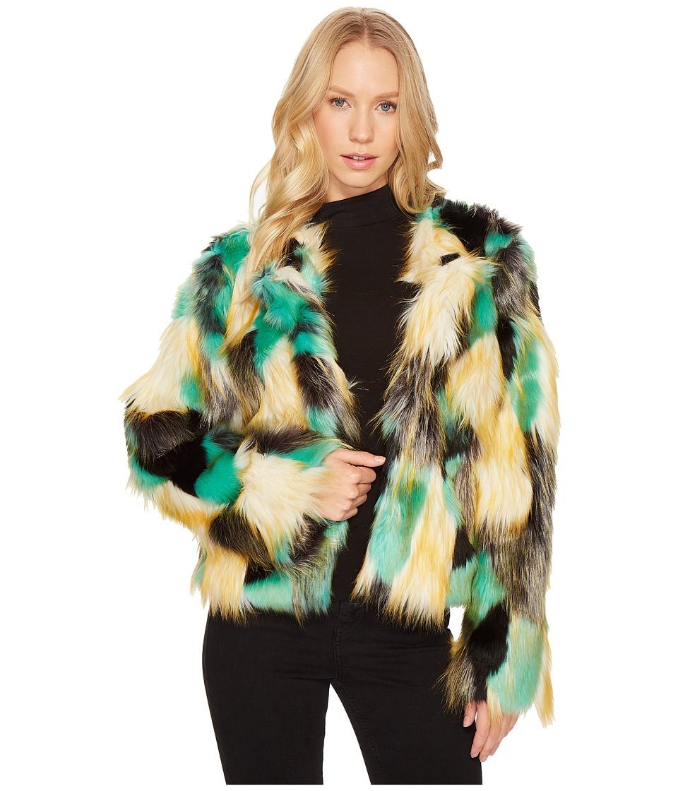 ROMEO & JULIET COUTURE - Multicolor Faux Fur Jacket (Beige/Green) Women's Coat