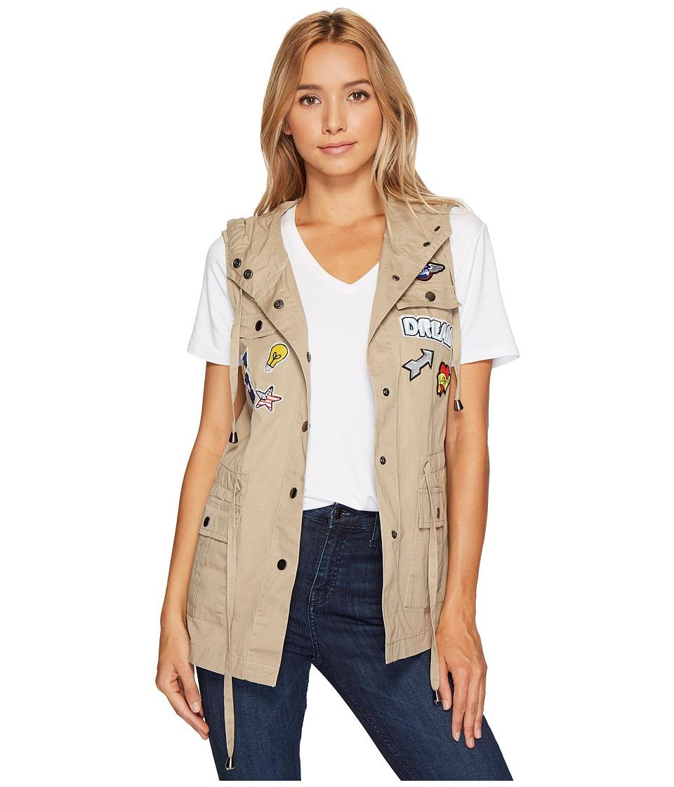 ROMEO & JULIET COUTURE - Hooded Cargo Patchwork Vest (Khaki) Women's Vest