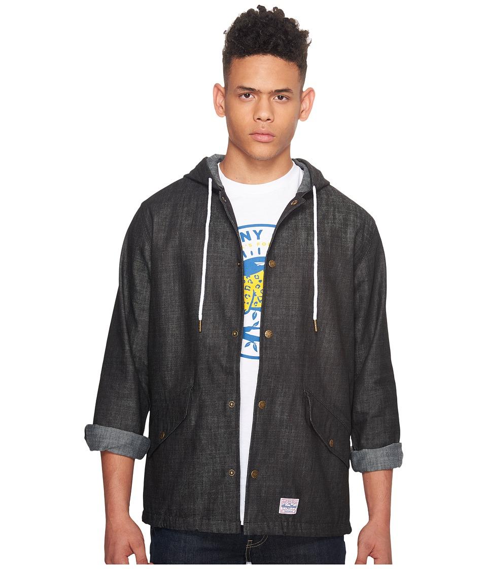Image of Benny Gold - Denim Stonewashed Hooded Parka (Black) Men's Coat