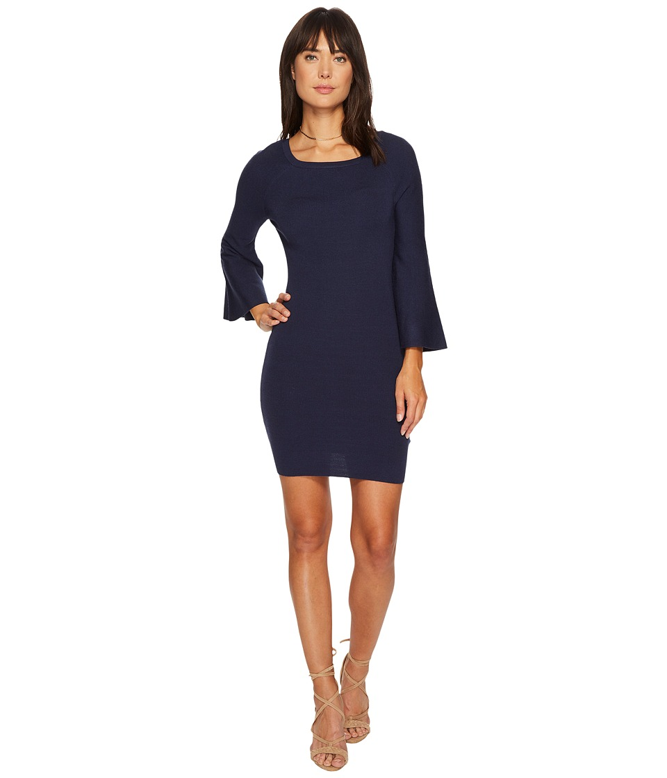 J.O.A. Bell Sleeve Fitted Knit Dress (Blue) Women