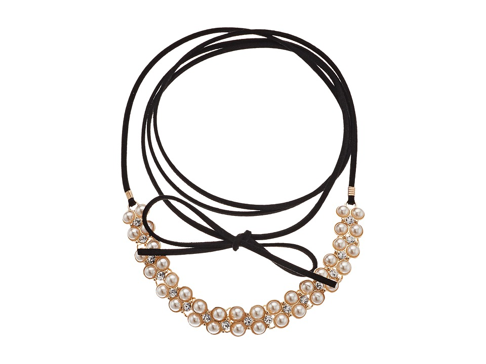 GUESS - Wrap Look Pearl Tie Choker Necklace (Gold/Black/Crystal) Necklace