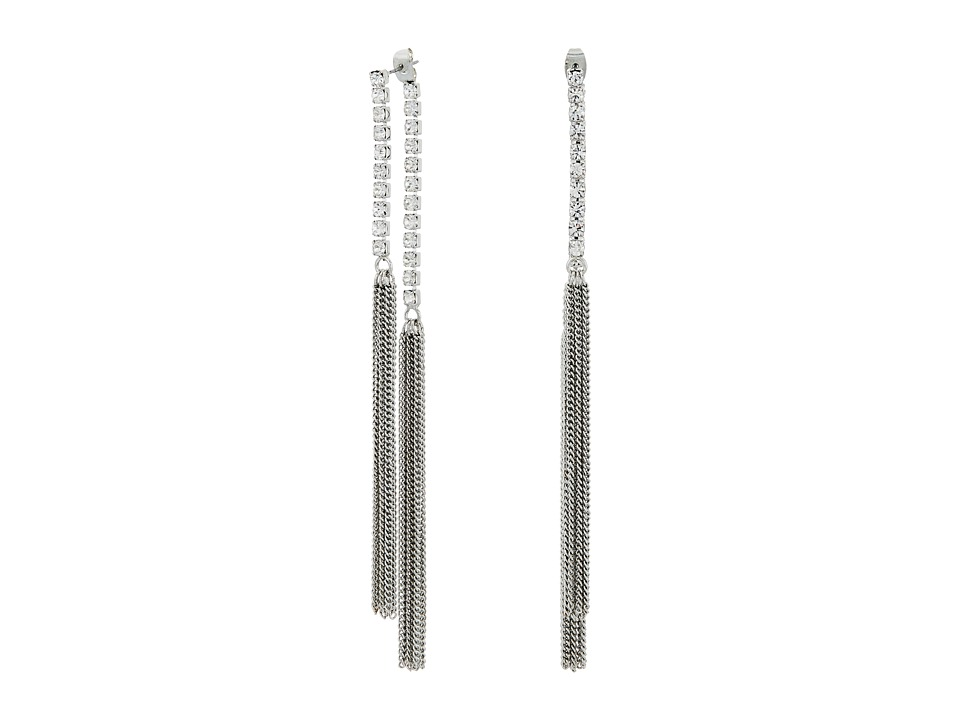 GUESS - Twist Hoop with Pave Accent Earrings (Silver/Crystal) Earring