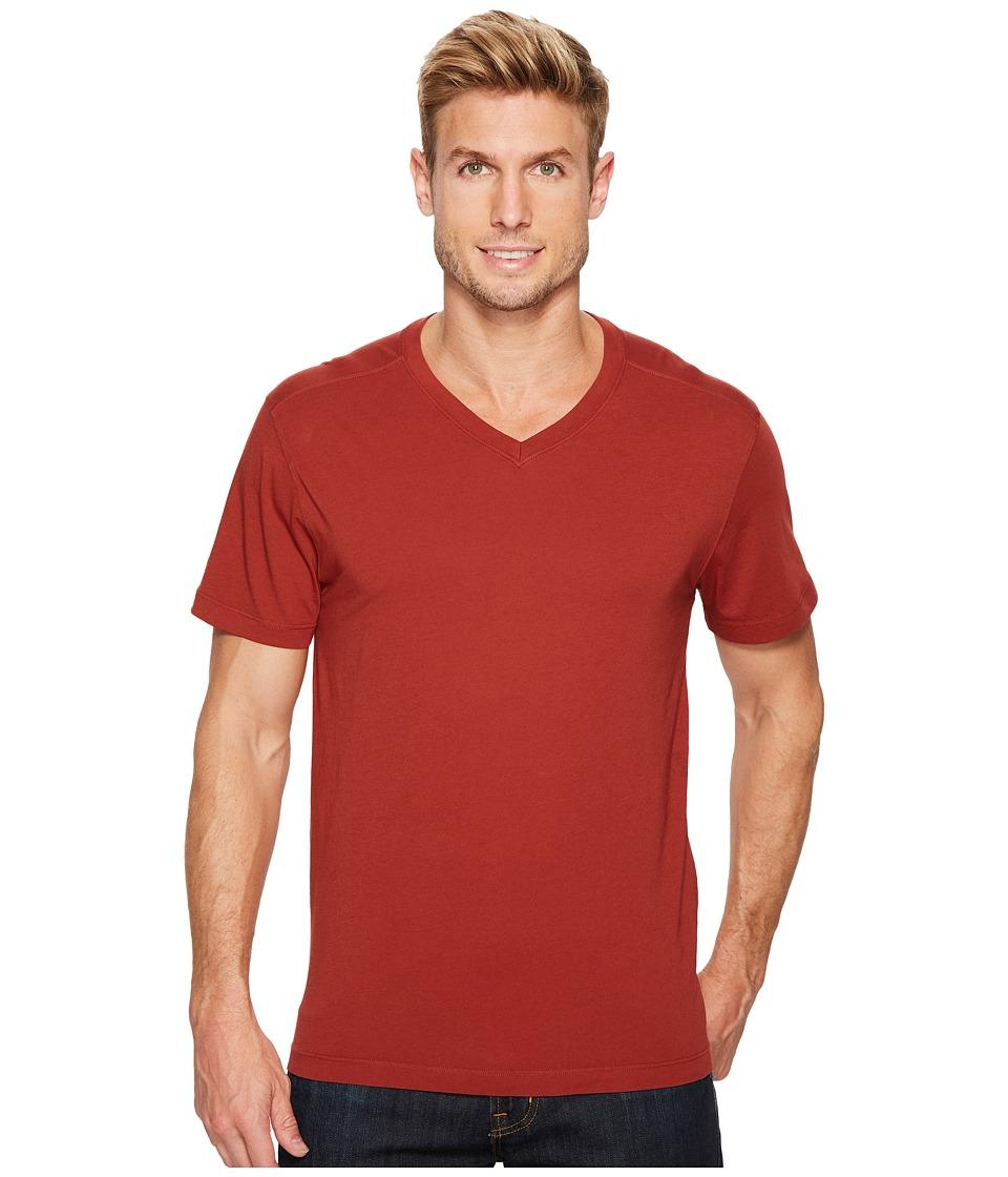 Agave Denim Agave Supima Vee Neck Short Sleeve Tee (Burnt Henna) Men's T Shirt