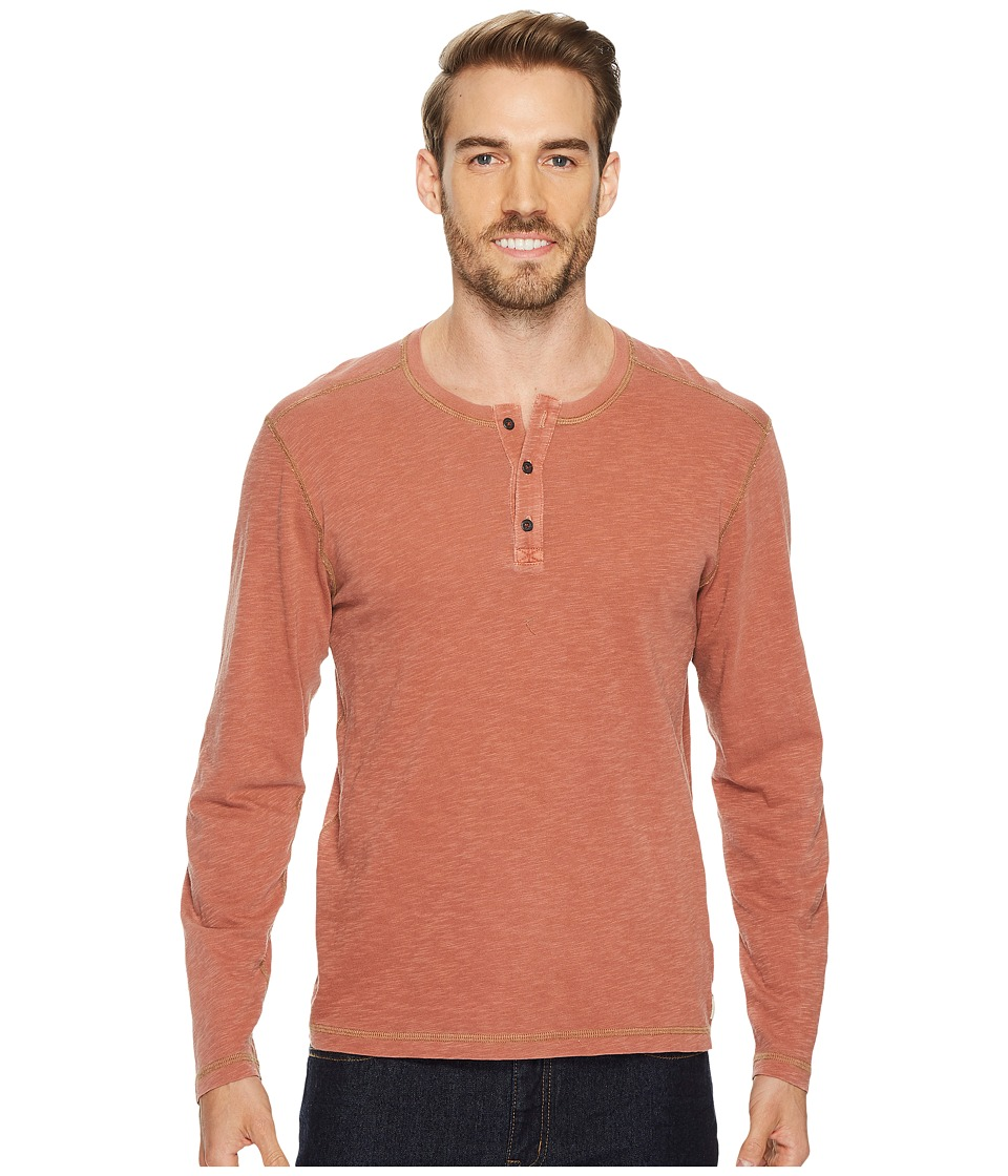 Agave Denim Pintail Long Sleeve Henley Slub Jersey (Burnt Henna) Men's Long Sleeve Pullover