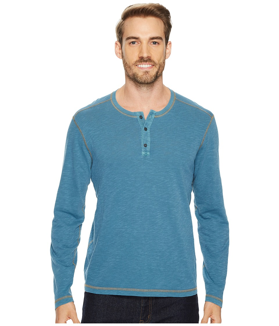 Agave Denim Pintail Long Sleeve Henley Slub Jersey (Legion Blue) Men's Long Sleeve Pullover