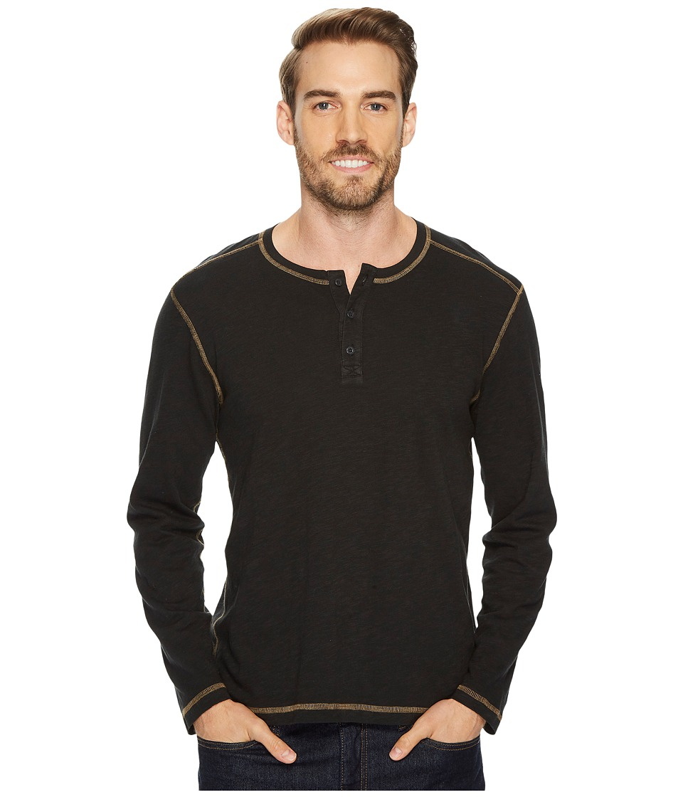 Agave Denim Pintail Long Sleeve Henley Slub Jersey (Stretch Limo) Men's Long Sleeve Pullover