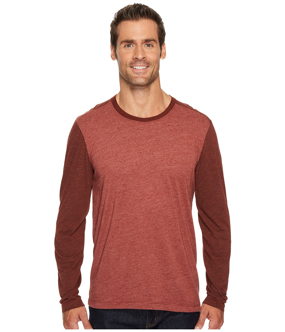 Agave Denim Shoaling Long Sleeve Color Block Neps T-Shirt (Burnt Henna) Men's Long Sleeve Pullover