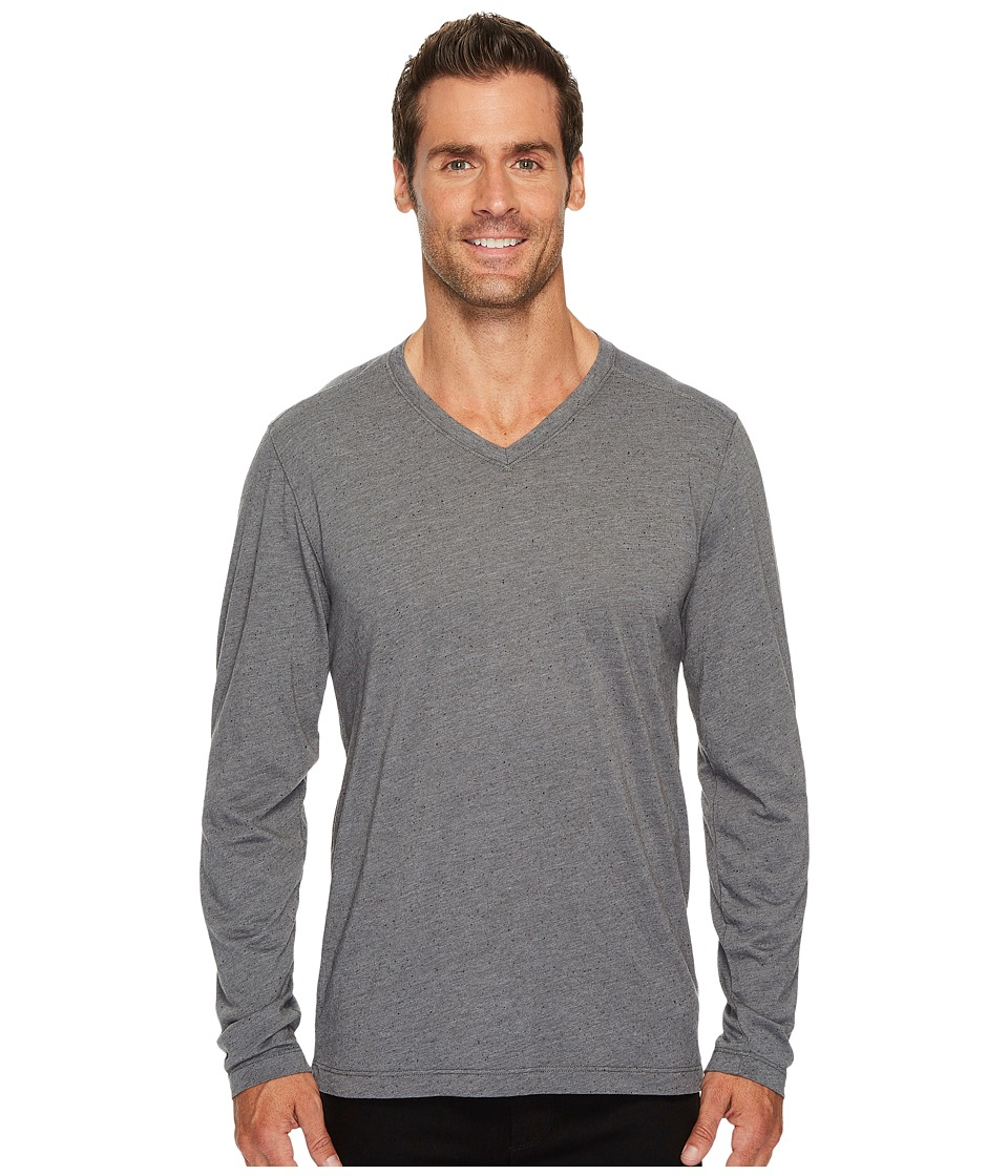 Agave Denim Feathering Long Sleeve Neps Jersey T-Shirt (Gunmetal) Men's Long Sleeve Pullover