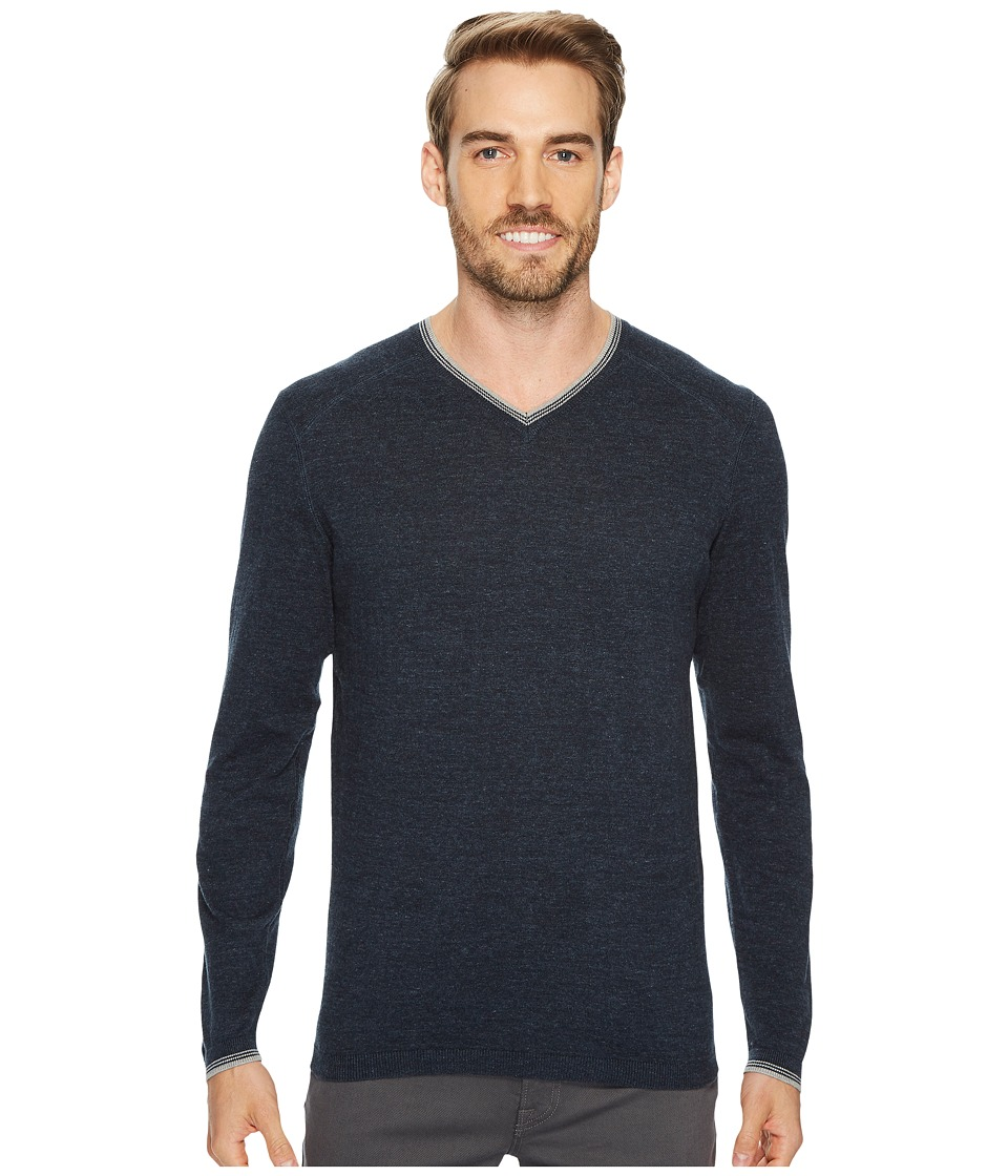 Agave Denim Fin Long Sleeve V-Neck 14GG Sweater (Blue Nights) Men's Long Sleeve Pullover