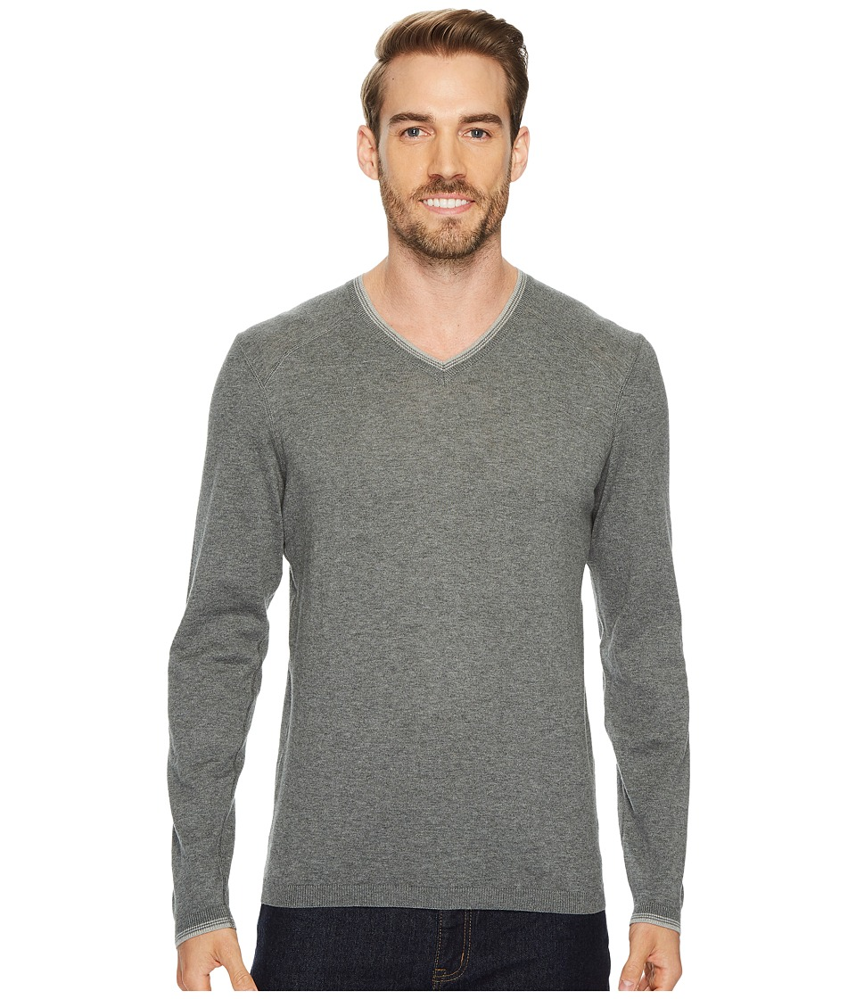 Agave Denim Fin Long Sleeve V-Neck 14GG Sweater (Gunmetal) Men's Long Sleeve Pullover