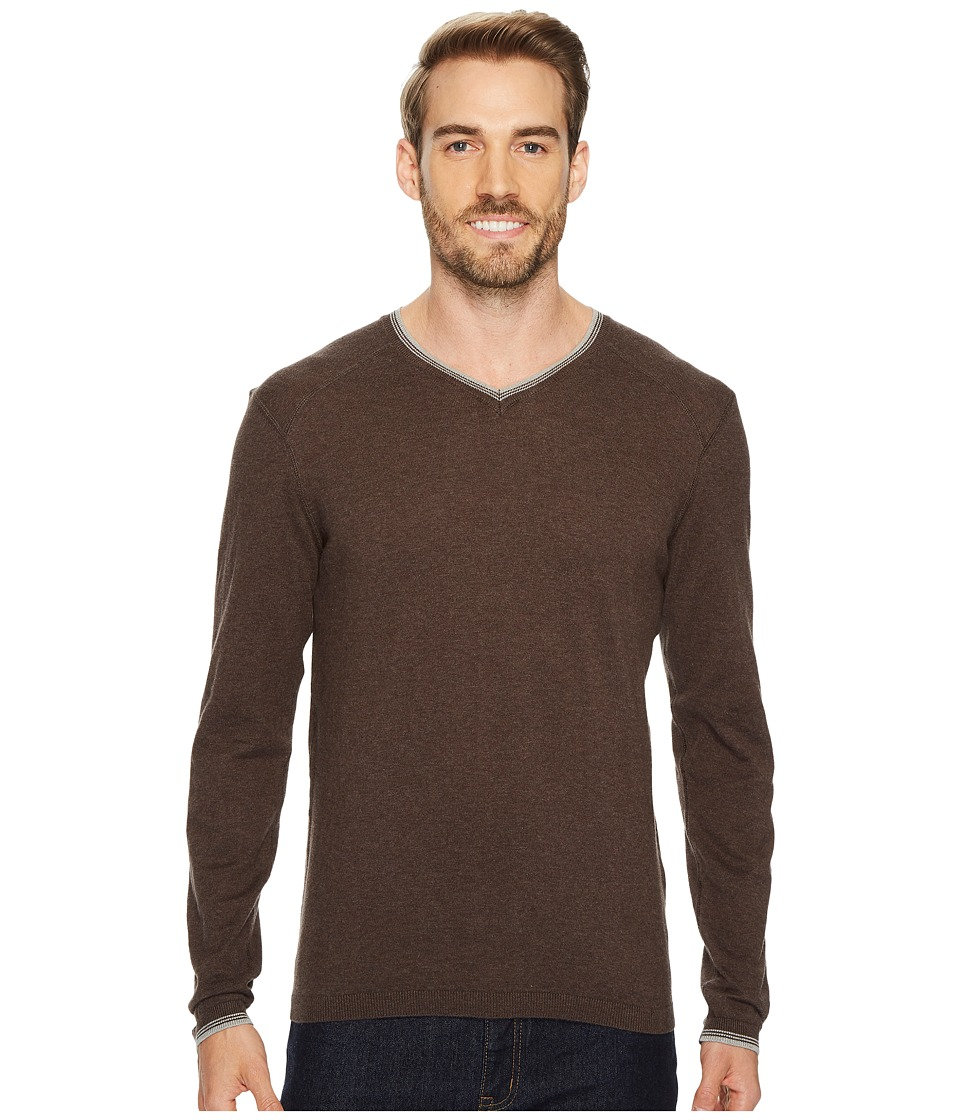Agave Denim Fin Long Sleeve V-Neck 14GG Sweater (Shale) Men's Long Sleeve Pullover