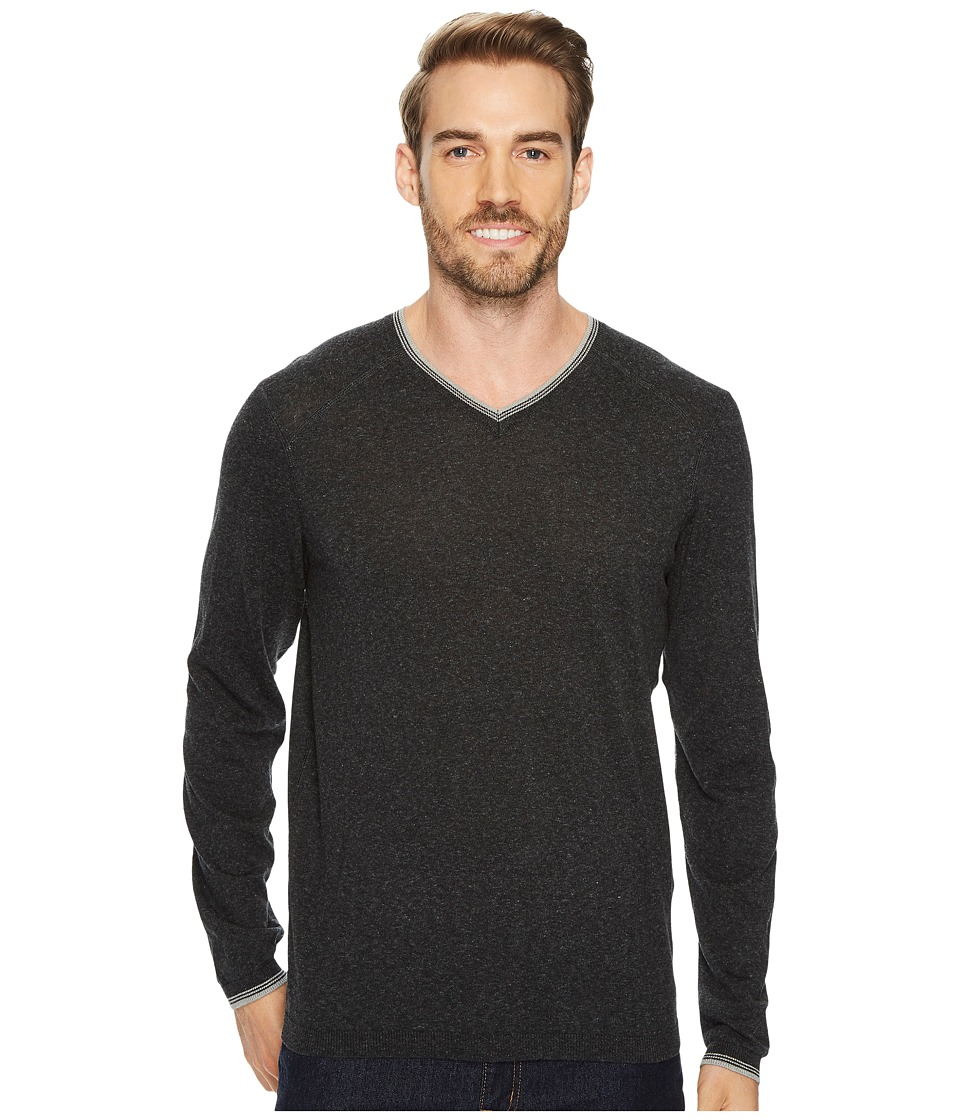 Agave Denim Fin Long Sleeve V-Neck 14GG Sweater (Stretch Limo) Men's Long Sleeve Pullover