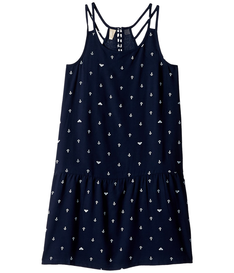 Roxy Kids Moments of Time Strappy Dress (Big Kids) (Dress Blues/Watercolor Anchor) Girl
