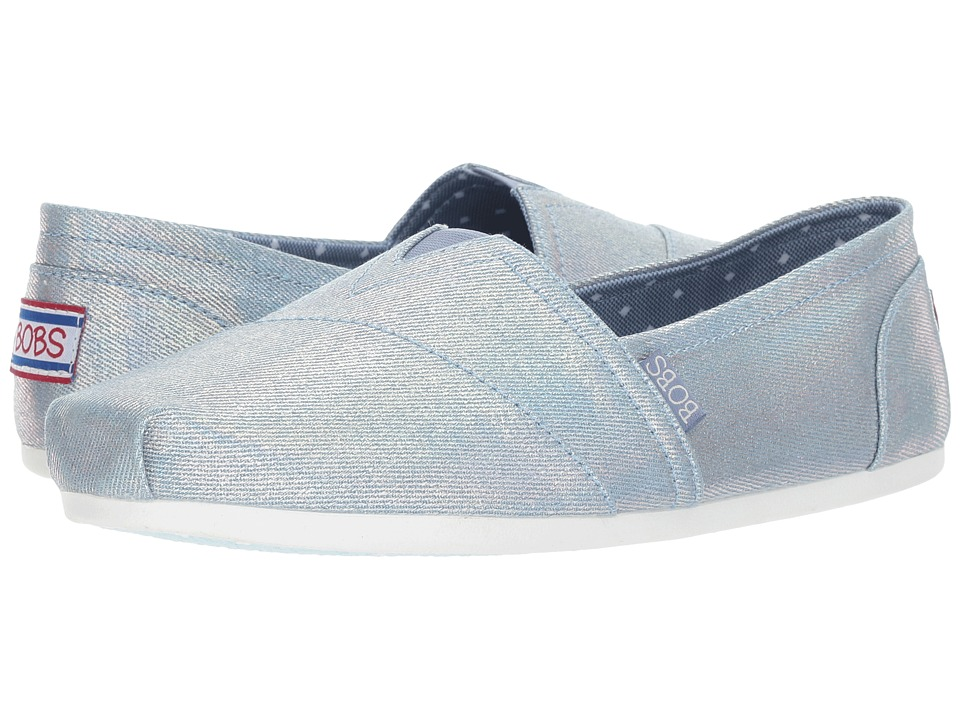 BOBS from SKECHERS - BOBS Plush - Gal Power (Light Denim) Women's Shoes